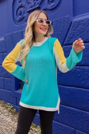 Blusa Tricot Color Block